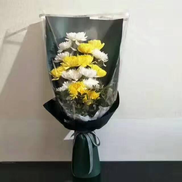 8枝白色菊花,8枝黄色菊花,配叶