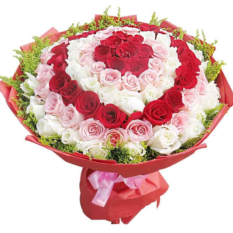 99枝优质红、粉、白玫瑰花间插,加拿大黄莺外围点缀
