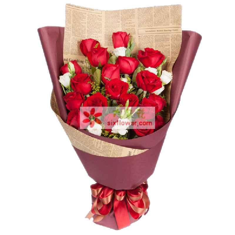 19枝红玫瑰,搭配白色桔梗、黄莺点缀