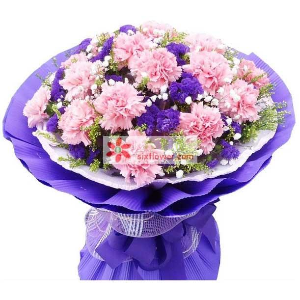 19枝粉色康乃馨,黄英 紫色勿忘我点缀