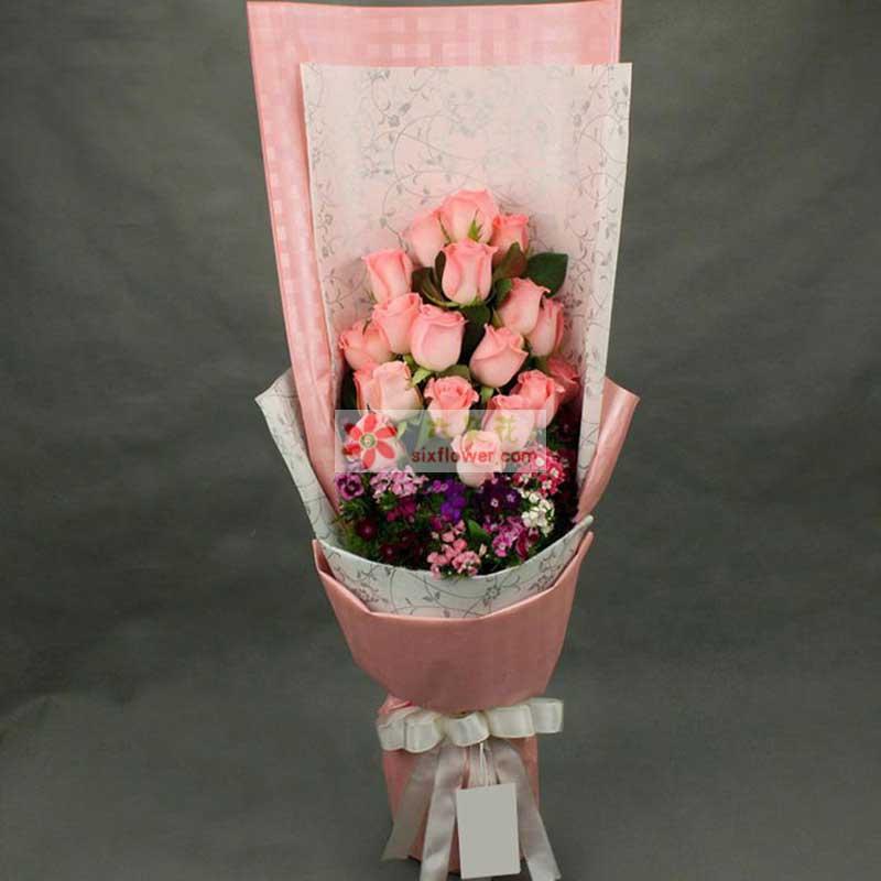 粉玫瑰18枝,相思梅、石竹梅搭配