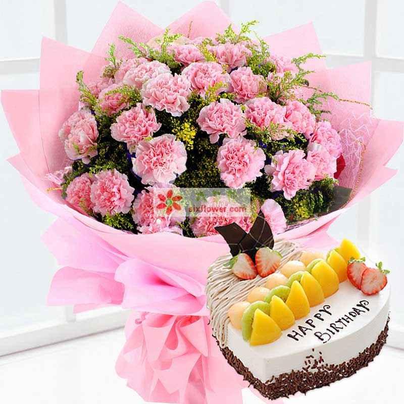 19枝康乃馨,8寸心形蛋糕;