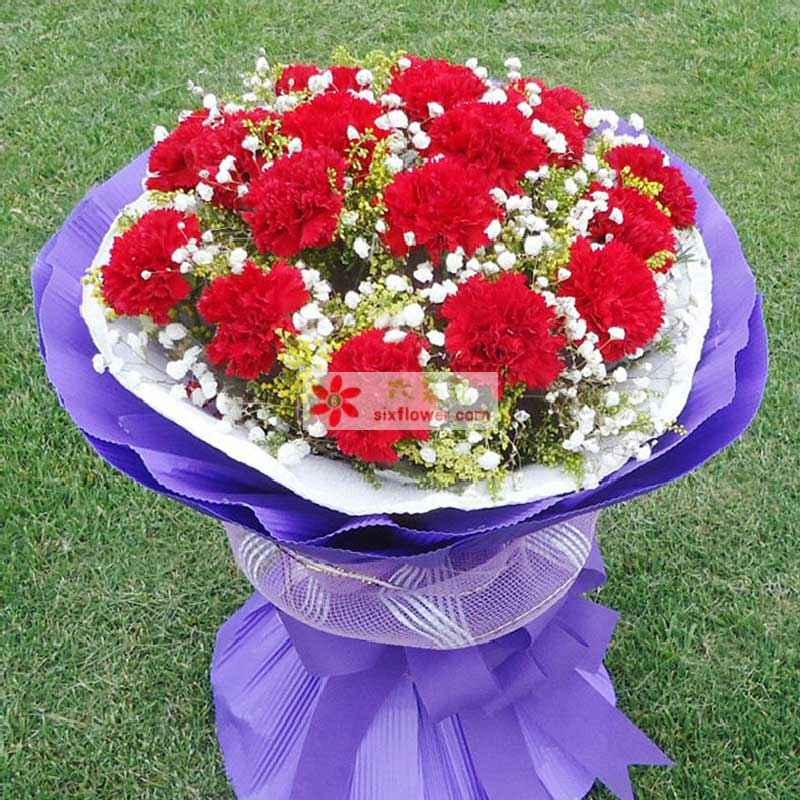11枝红色康乃馨,加拿大黄莺、满天星间插丰满;
