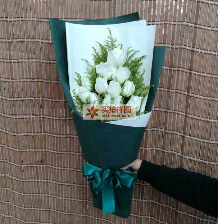 12枝白玫瑰,5英寸小熊1个,绿色配草