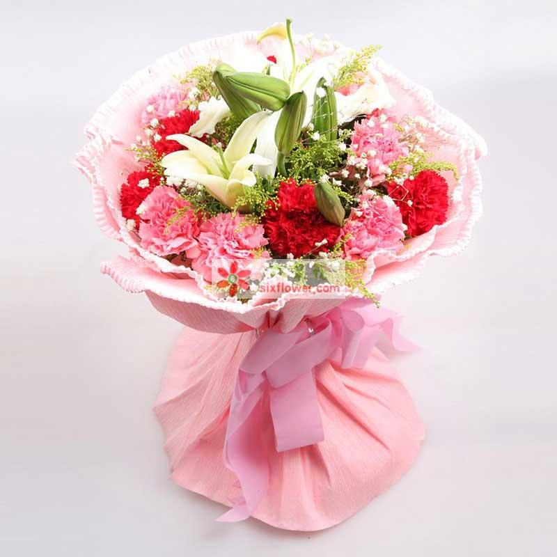 红色康乃馨5枝,粉色康乃馨6枝,白色多头香水百合2枝