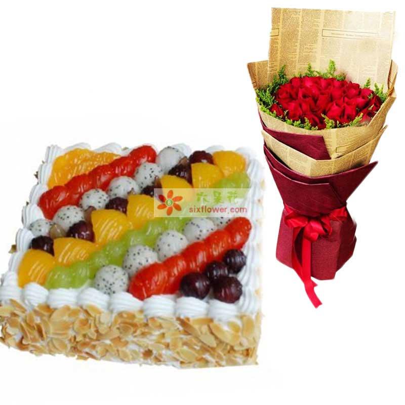 红玫瑰29枝,水果蛋糕8寸,花束黄莺围绕