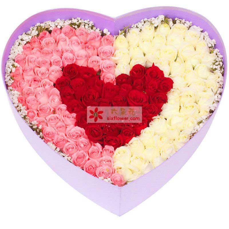 99枝玫瑰(粉+白+红),周围点缀相思梅;