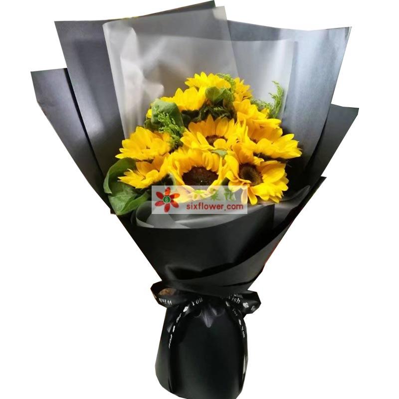 9枝向日葵,黄英、配叶点缀;