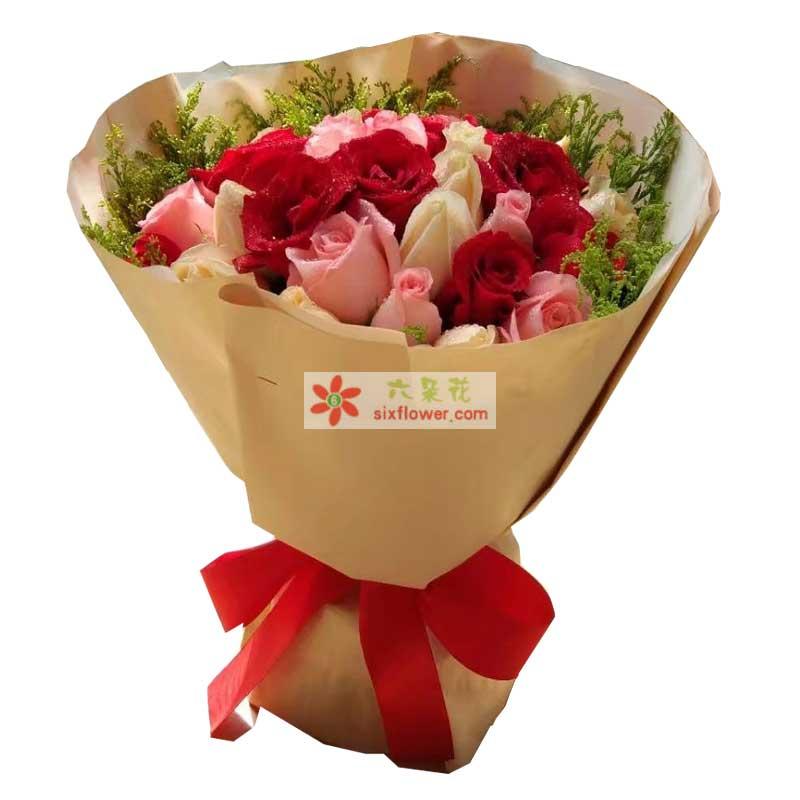 9枝粉色玫瑰,9枝红色玫瑰,9枝白色玫瑰,周围黄英丰满