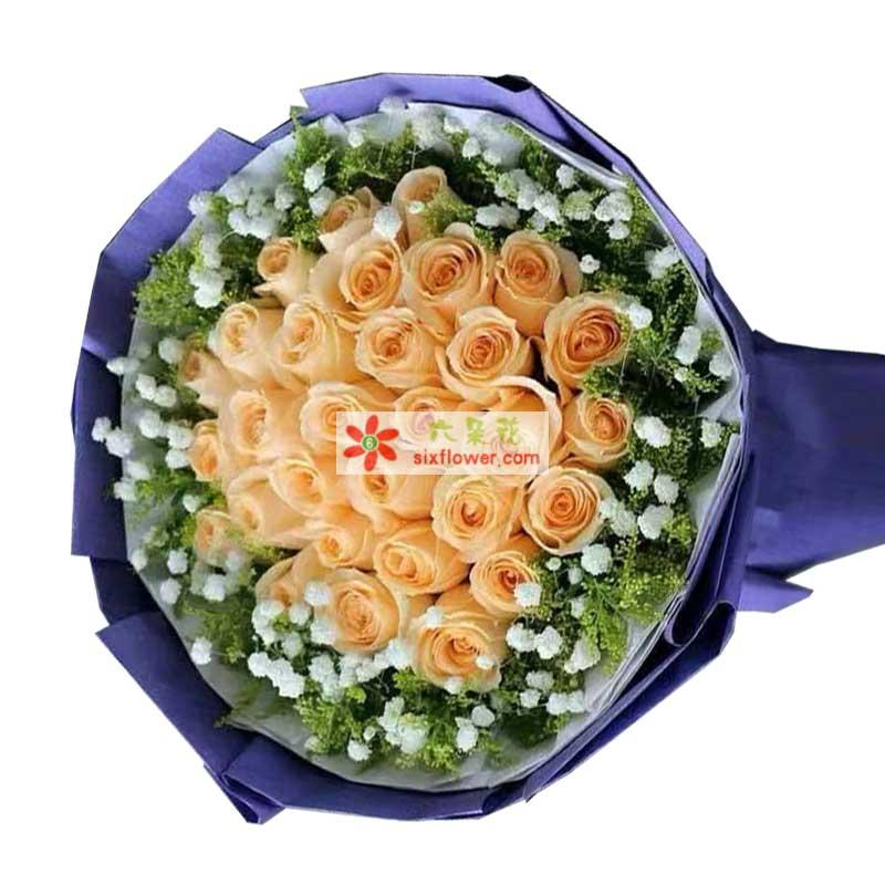 29枝香槟玫瑰,黄英、满天星周围点缀