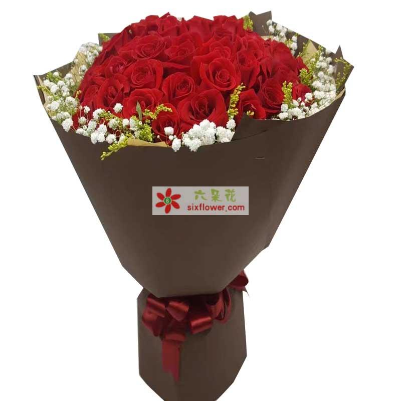 36枝红色玫瑰,满天星黄英周围点缀