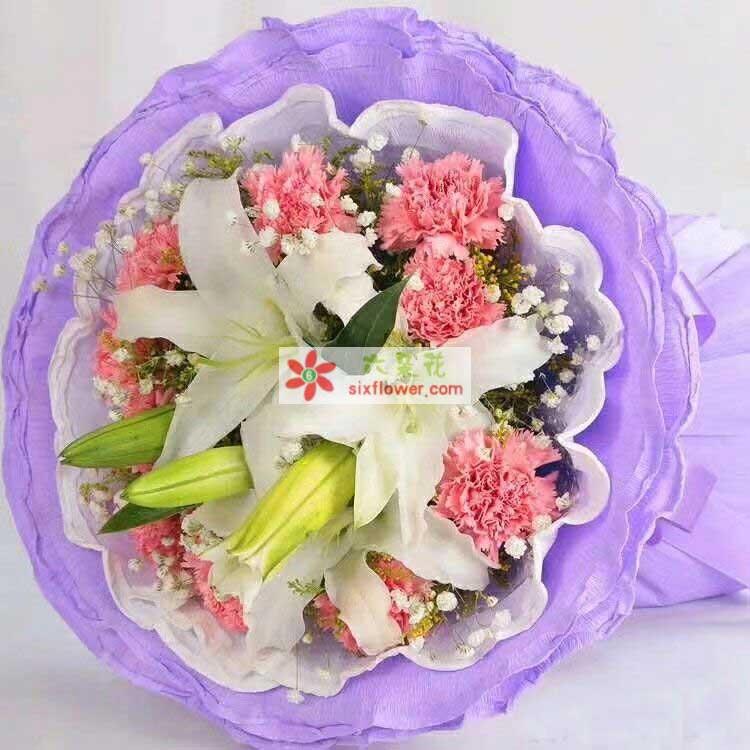 9枝粉色康乃馨,2枝多头白色百合,满天星点缀;