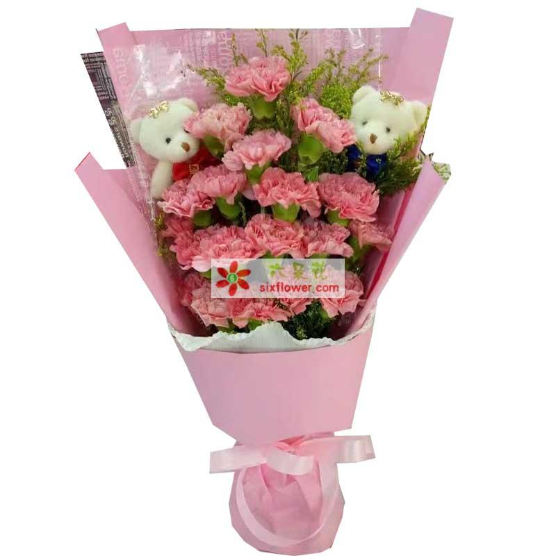 19枝粉色康乃馨,黄英点缀,2个小熊;