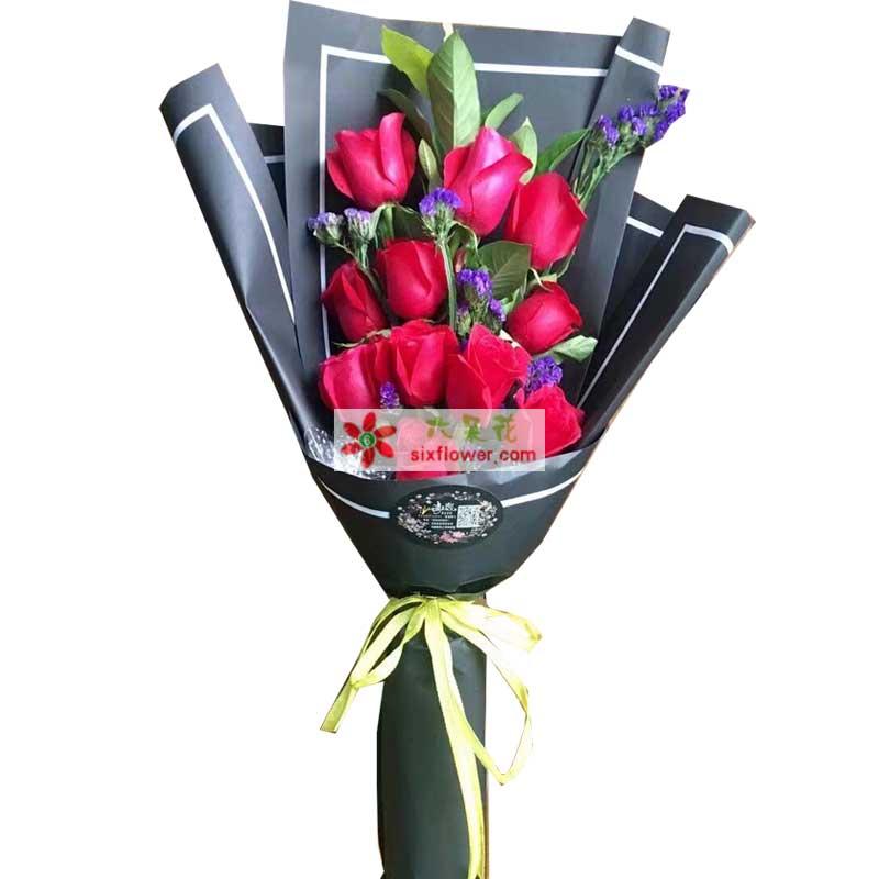 11枝红色玫瑰,紫色勿忘我、配叶点缀