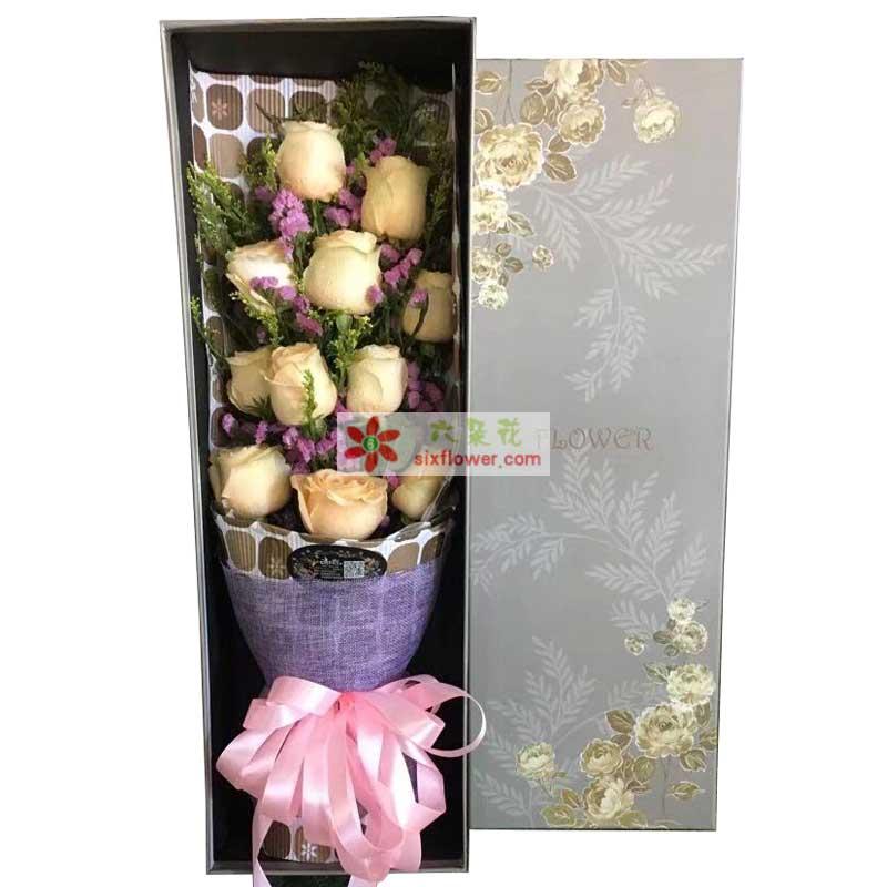 11枝香槟玫瑰,粉色勿忘我,黄英点缀
