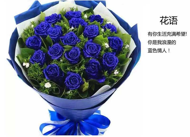 19枝蓝色妖姬,绿叶间插丰满;