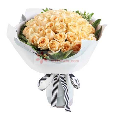 50枝香槟玫瑰,叶上花周围点缀