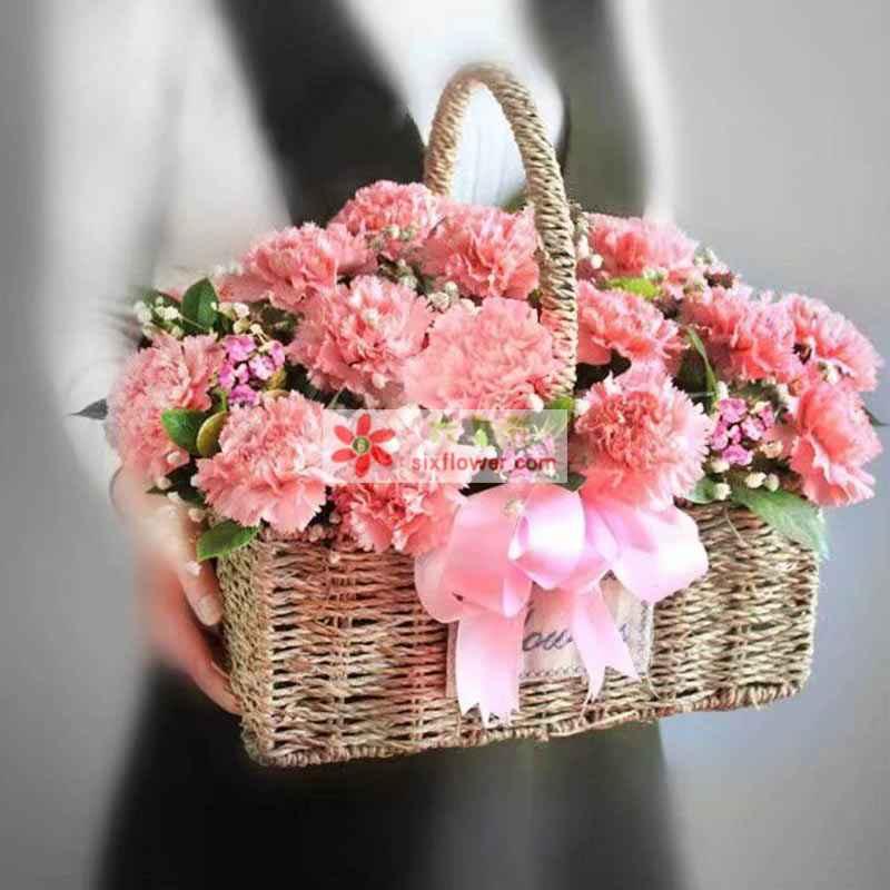 29枝粉色康乃馨,满天星、相思梅丰满