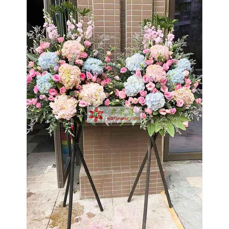 4只粉色绣球花、3只蓝色绣球花,19粉色玫瑰,20枝粉色桔梗(或其他颜色)点缀,紫罗兰、情人草、橛子叶、散尾葵搭配
