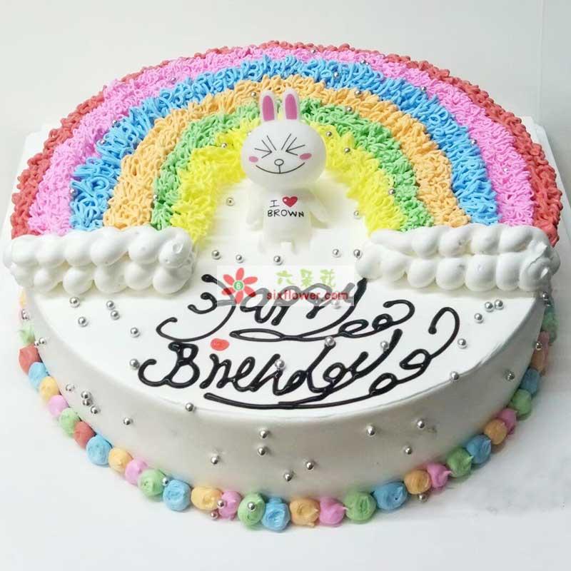 """8寸圆形彩虹奶油蛋糕,中间生肖卡通一个,蛋糕上写上:""""happy birthday"""""""