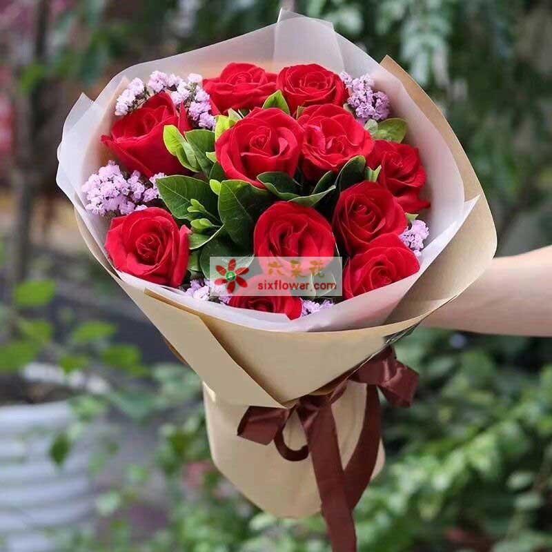 11枝红色玫瑰,粉色勿忘我、橛子叶丰满