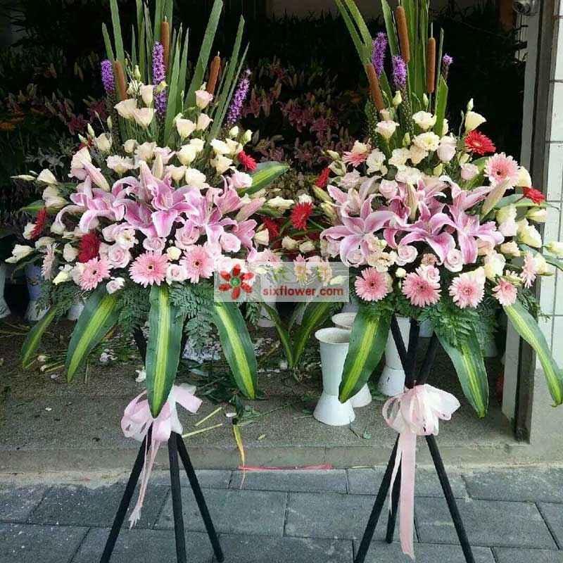 30枝香槟玫瑰,8枝红色非洲菊、16枝粉色非洲菊,巴西叶、散尾葵、剑叶搭配;