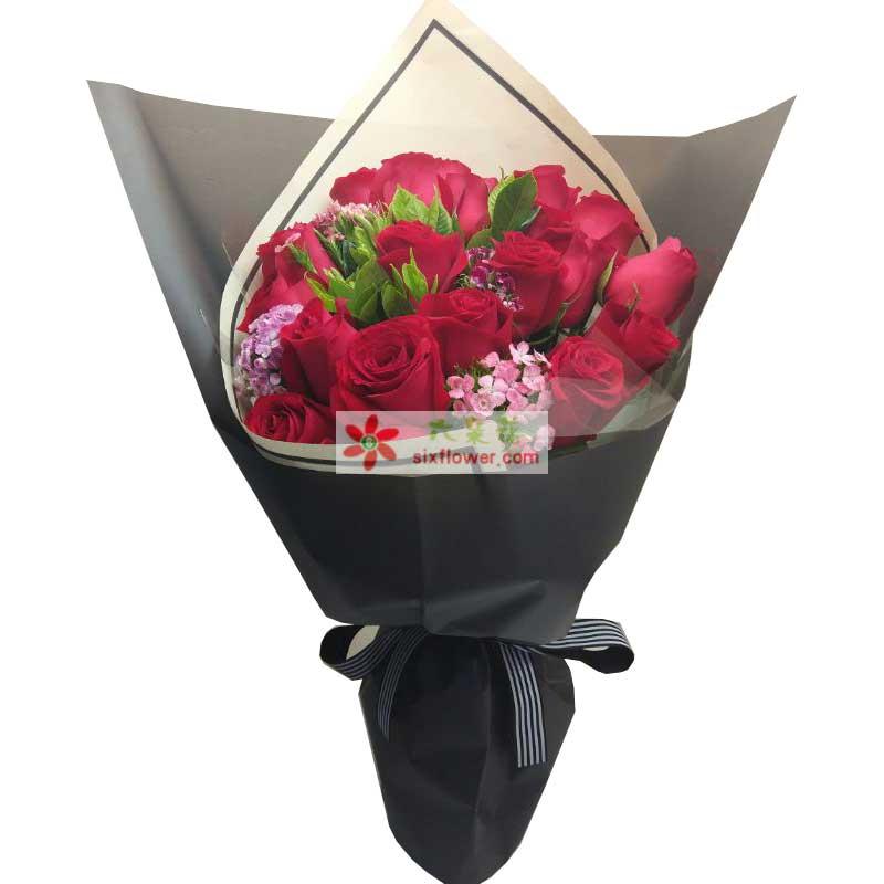 19枝红色玫瑰,相思梅、橛子叶点缀;
