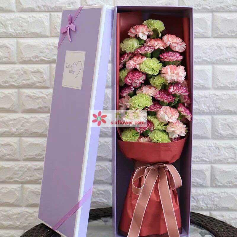 10枝绿色康乃馨,10枝粉粉色康乃馨、16枝紫边康乃馨