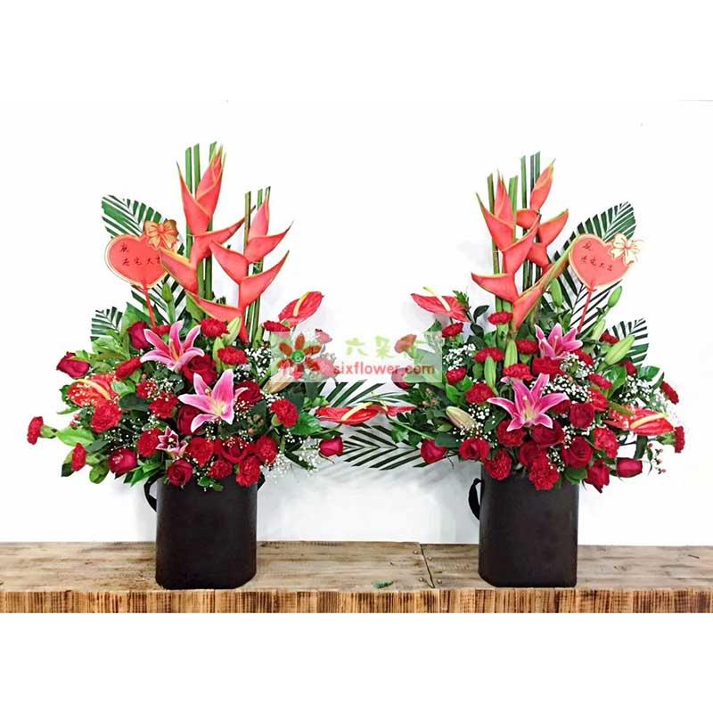 20枝红色康乃馨,10枝红色玫瑰,2枝多头粉色百合,2只富贵鸟,4片红掌,配叶、满天星点缀,散尾葵搭配