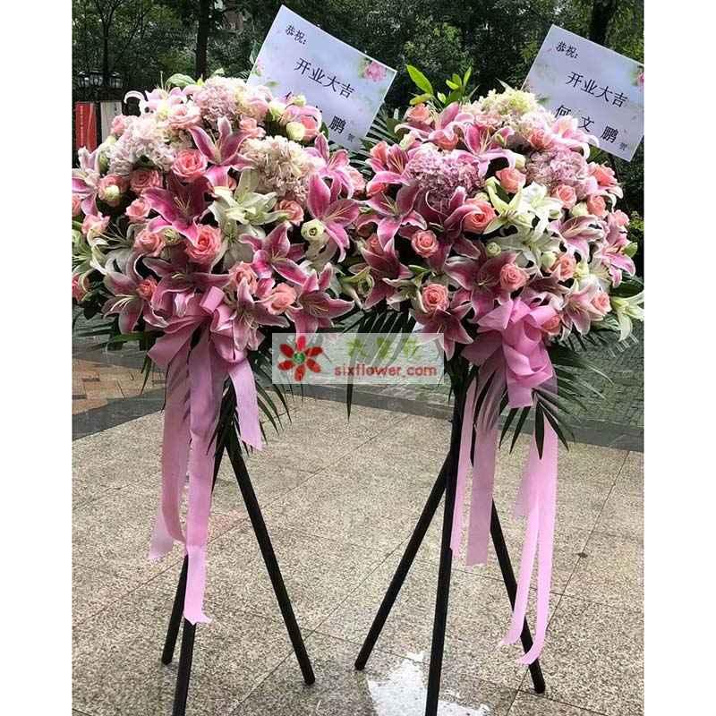 粉色、白色百合共计16朵,16枝粉色玫瑰,3只绣球花,桔梗丰满,散尾葵搭配