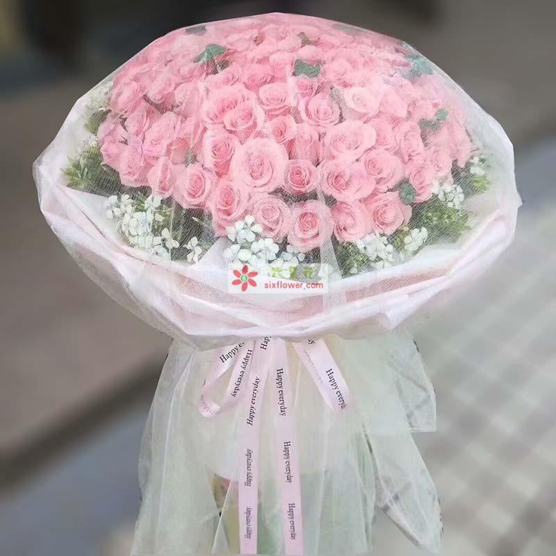 66枝戴安娜粉色玫瑰,周围相思梅丰满