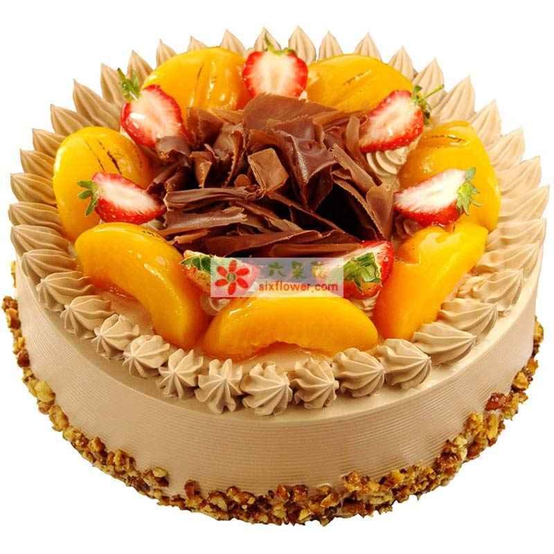 8寸圆形水果蛋糕,时令水果装饰