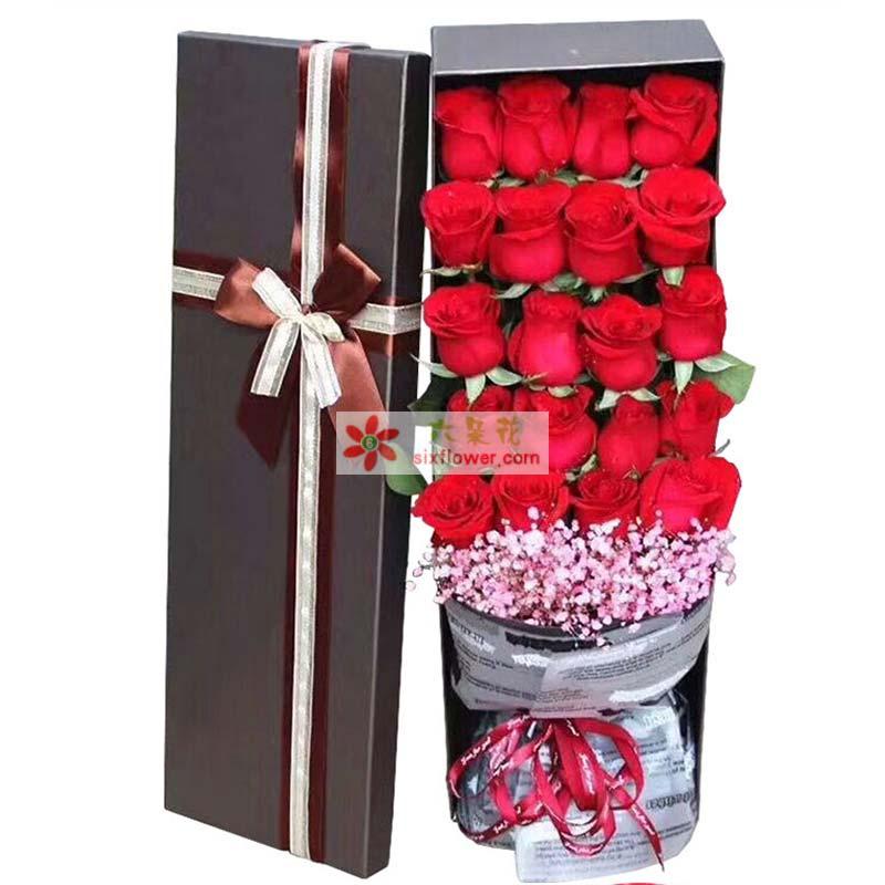 21枝红玫瑰,粉色满天星或粉色相思梅搭配