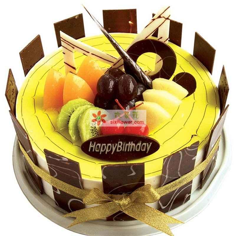 8寸圆形水果鲜奶蛋糕,黄绿色果浆铺面,时令水果,巧克力片装饰,巧克力片围边
