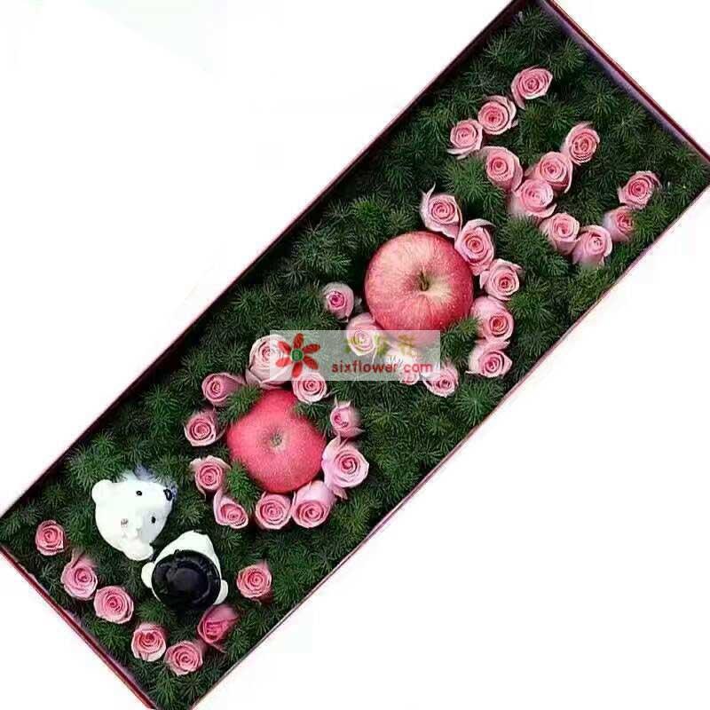 39枝戴安娜玫瑰,2个苹果,2只小熊