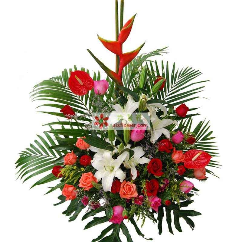 9枝红玫瑰,9枝粉玫瑰,9枝香槟玫瑰,6朵白色多头香水百合,6枝红色康乃馨,6枝粉色康乃馨,1枝红掌,1枝天堂鸟,散尾叶、黄莺、情人草等点缀