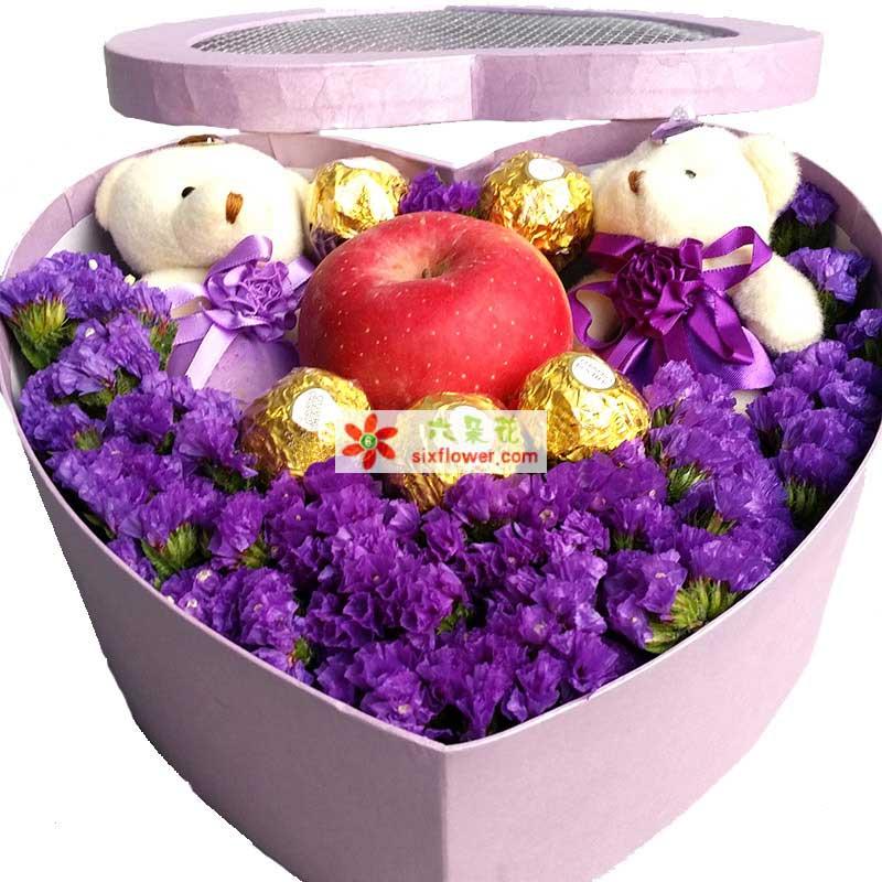 5颗费列罗巧克力,1个苹果,2只小熊,紫色勿忘我丰满
