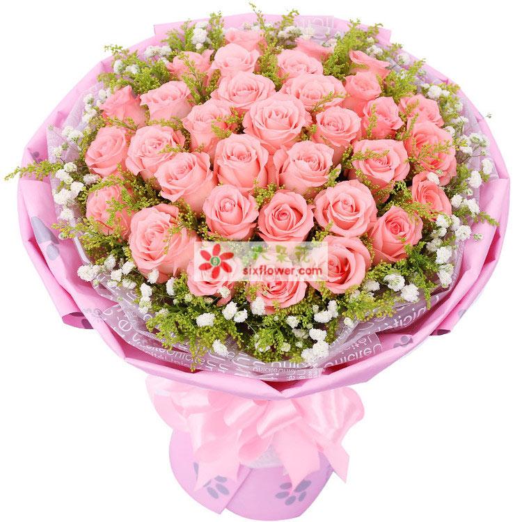 33枝戴安娜粉玫瑰,黄英点缀、满天星点缀