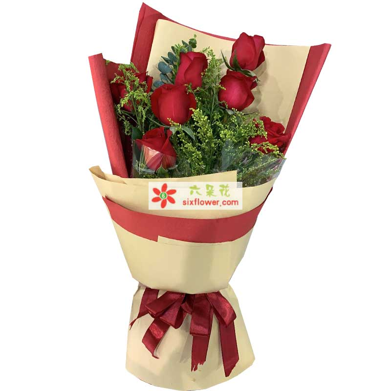 7枝红色玫瑰,黄莺点缀,绿叶丰满