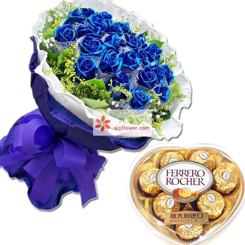 33枝蓝玫瑰,黄莺、绿叶点缀,8颗心形盒装费列罗巧克力
