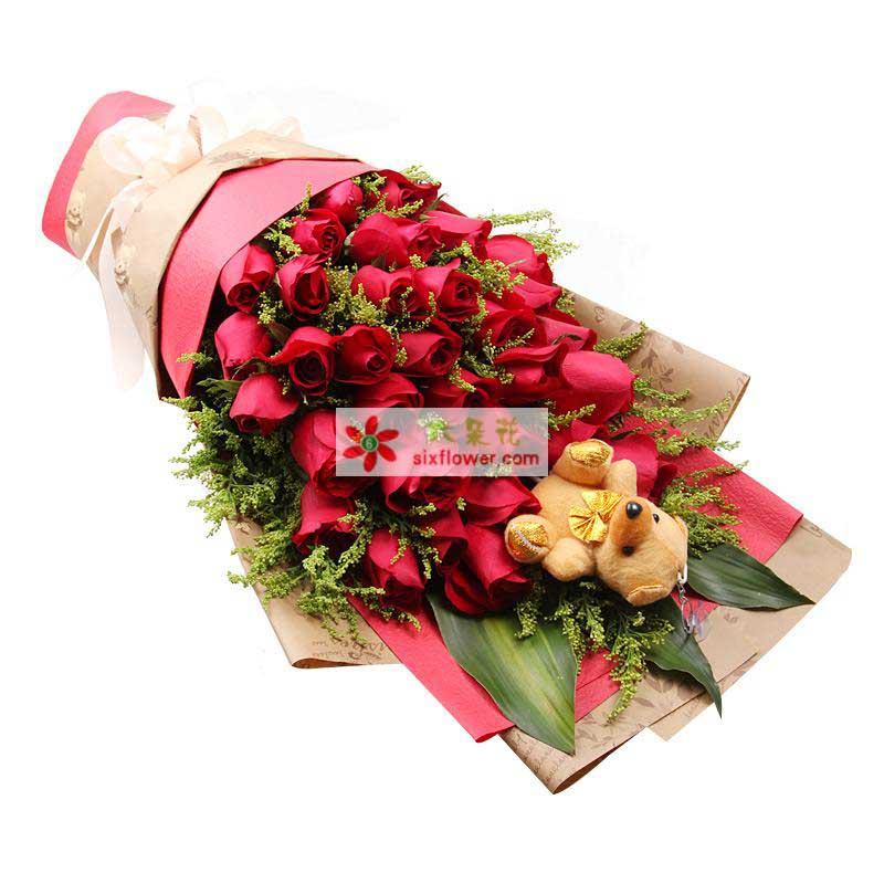29枝红玫瑰,黄莺、巴西叶搭配,小熊一个