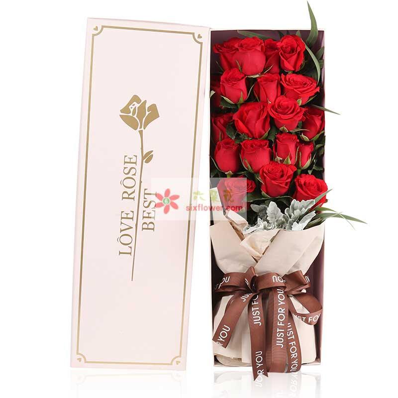 19枝精选红玫瑰,银叶菊、排草配叶搭配