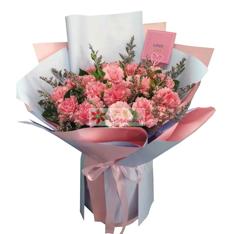 18枝粉色康乃馨情人草丰满;