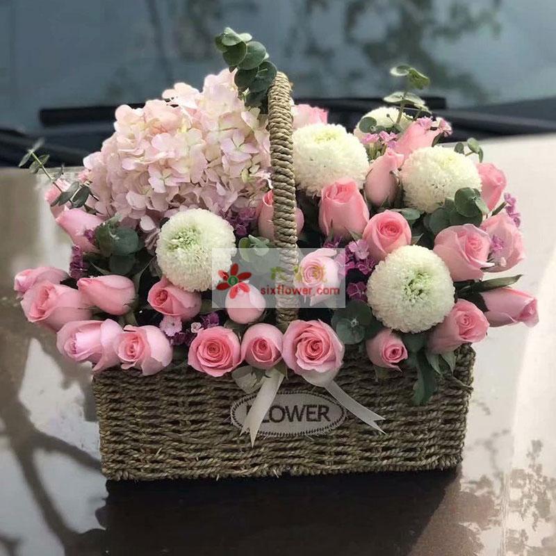 33枝戴安娜玫瑰,1只粉色绣球花,6枝乒乓菊(或2枝多头白色百合),尤加利、配叶点缀;