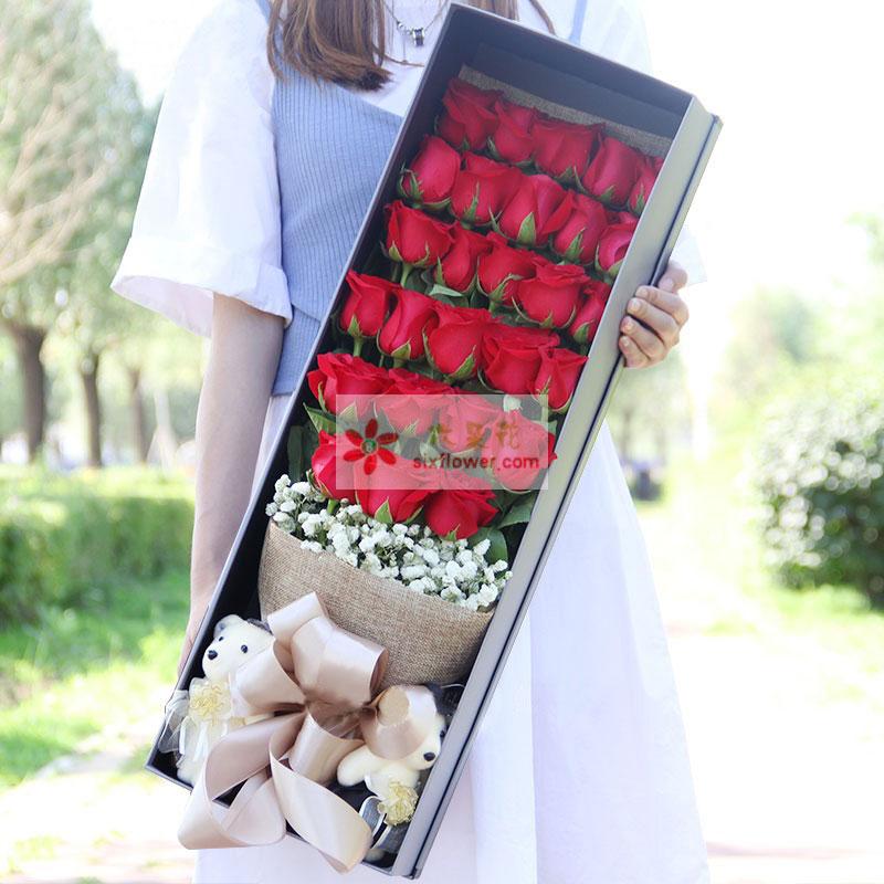 33枝红玫瑰,满天星,2个小熊