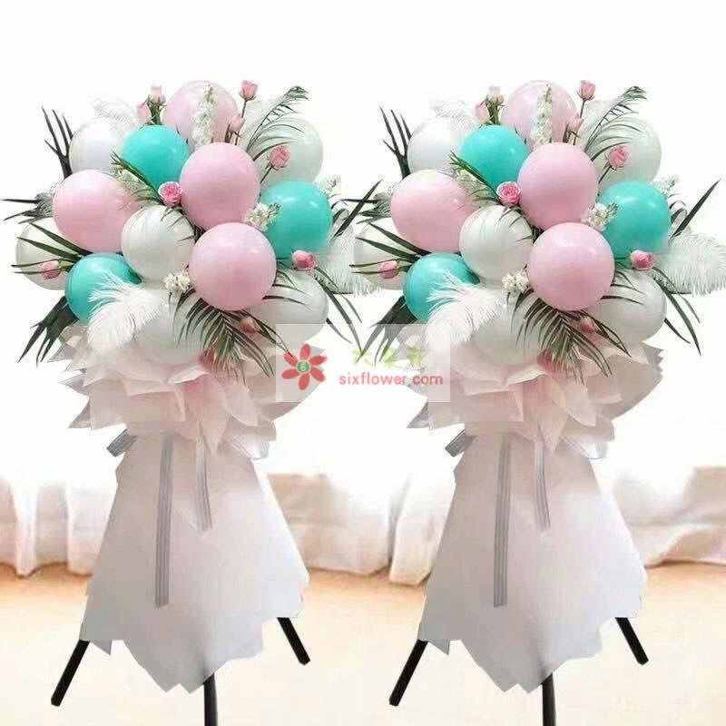16个各色气球,配花、配叶搭配;
