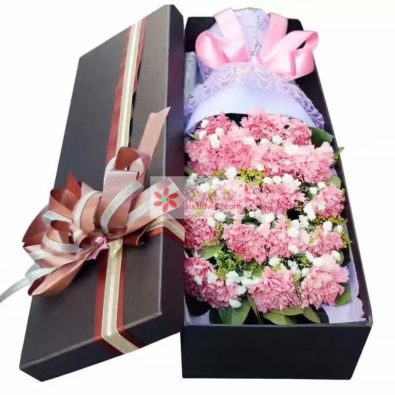 19枝粉色康乃馨,满天星、黄英、配叶搭配;