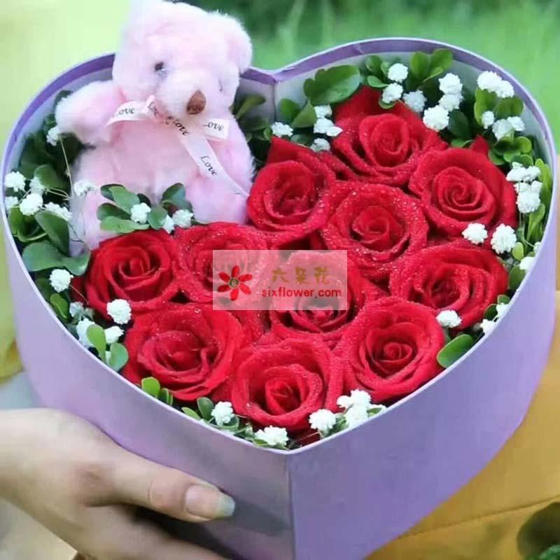 11枝红色玫瑰,满天星、栀子叶点缀,小熊一个;