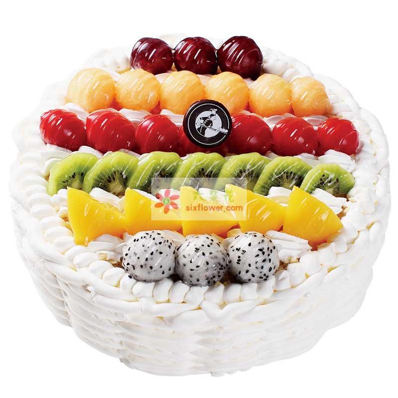 8寸圆形水果蛋糕,时令水果搭配;
