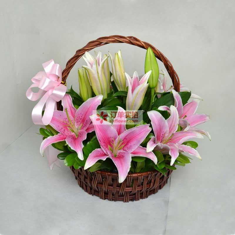 9枝粉色多头香水百合,绿叶搭配;